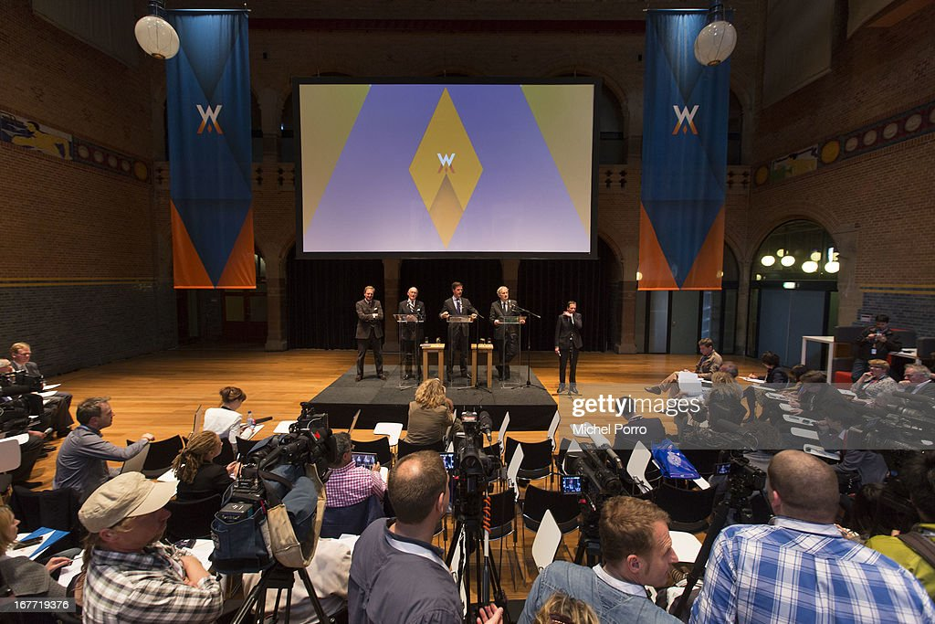 Prime Minister Mark Rutte of The Netherlands addresses the press covering the 30 April coronation of Crown Prince Willem Alexander of The Netherlands on April 28, 2013 in Amsterdam, Netherlands.
