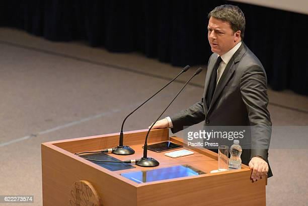 ACADEMY POZZUOLI NAPOLI ITALY Prime Minister Matteo Renzi during the speech at the inauguration of the academic year of the Institutes of Training...