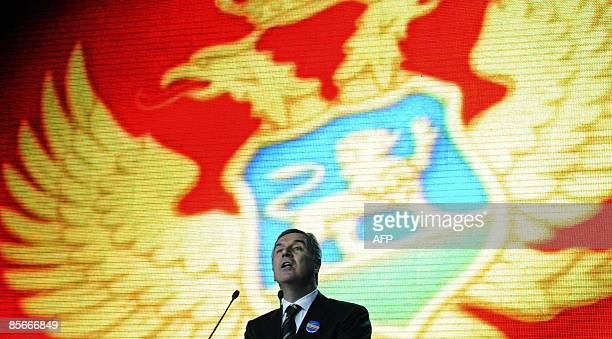 Prime Minister Milo Djukanovic of the ruling Democratic Party of Socialists speaks during the final election rally in capital Podgorica on March 27...