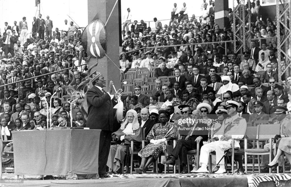 Prime Minister Mr Jomo Kenyatta at Independence Arena for The Independence Ceremony In Kenya, 1963.