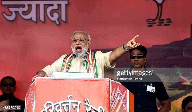 Prime Minister Narendra Modi addresses a public rally ahead of the upcoming Bihar elections on September 1 2015 in Bhagalpur India Prime Minister...
