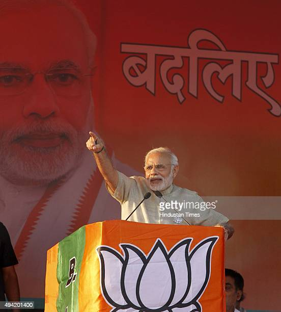 Prime Minister Narendra Modi addresses during an election rally amid Bihar Assembly Elections at Hazipur on October 25 2015 in Patna India During the...
