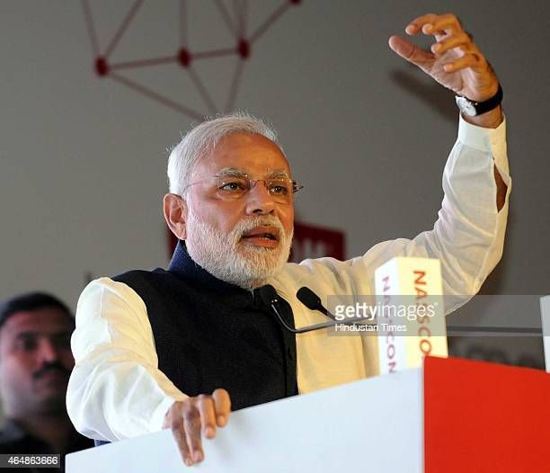 Prime Minister Narendra Modi addresses during the 25th Foundation Day of Nasscom event on silver jubilee of Indian ITITeS industry on March 1 2015 in...