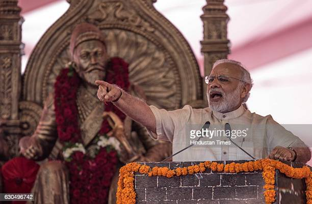 Prime Minister Narendra Modi addresses during the foundation stone laying ceremony of the two metro corridors and other projects at Bandra Kurla...