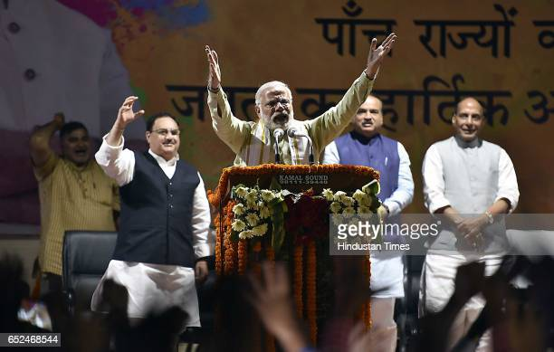 Prime Minister Narendra Modi addresses during the Holi Milan celebrations at Delhi BJP Office and celebrate party landslide victory in assembly...