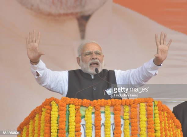 Prime Minister Narendra Modi addressing a BJP election campaign rally on February 8 2017 in Ghaziabad India Prime Minister took on the SP chief about...
