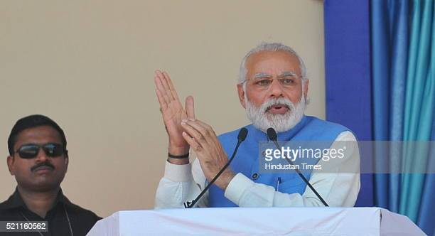 Prime Minister Narendra Modi addressing a public rally to mass gathering of Dalits on the 125th birth anniversary of Dr B R Ambedkar in Mhow on April...