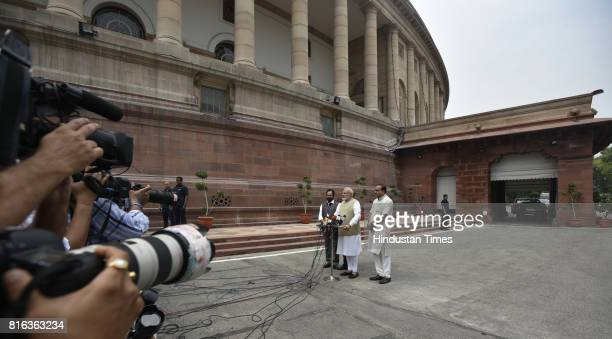 Prime Minister Narendra Modi along with Mukhtar Abbas Naqvi Jitendra Singh and Anant Kumar addresses the media persons before casting his vote for...