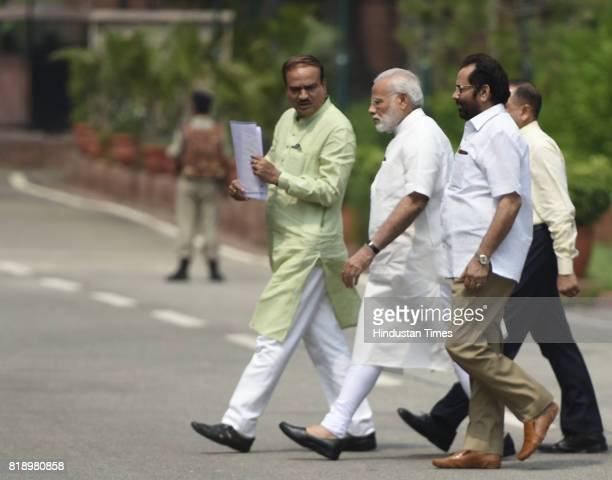 Prime Minister Narendra Modi Ananth Kumar and Mukhtar Abbas Naqvi during the monsoon session of the Parliament on July 19 2017 in New Delhi India