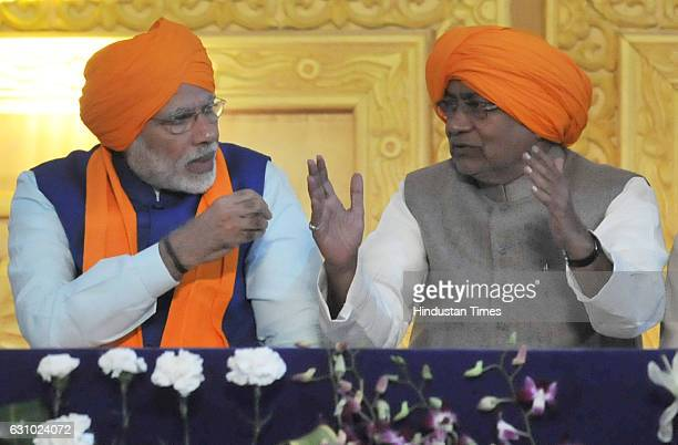 Prime Minister Narendra Modi and Chief Minister of Bihar Nitish Kumar during the 350th birth anniversary of Sikh Guru Gobind Singh Ji on January 5...