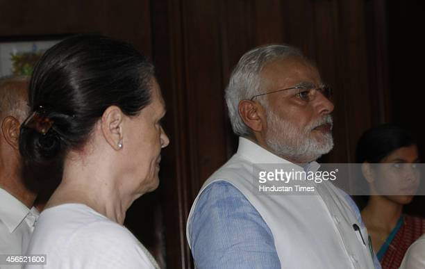 Prime Minister Narendra Modi and Congress president Sonia Gandhi during an event to pay tribute to Mahatma Gandhi and Lal Bahadur Shastri on their...