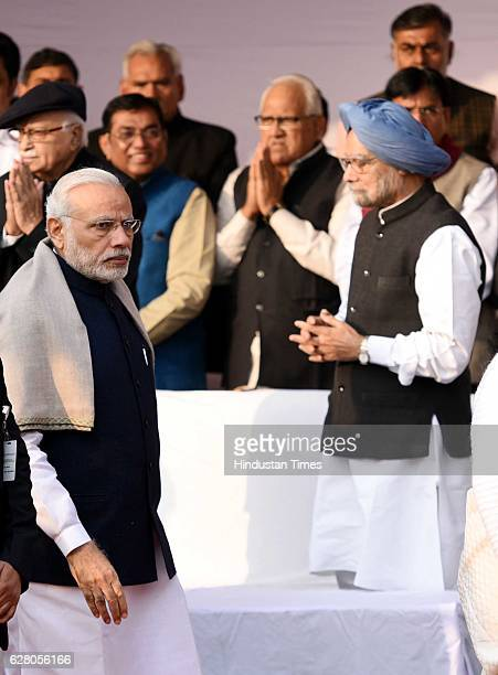 Prime Minister Narendra Modi and Former Prime Minister Dr Manmohan Singh paying homage to Dr B R Ambedkar on his death anniversary at parliament...