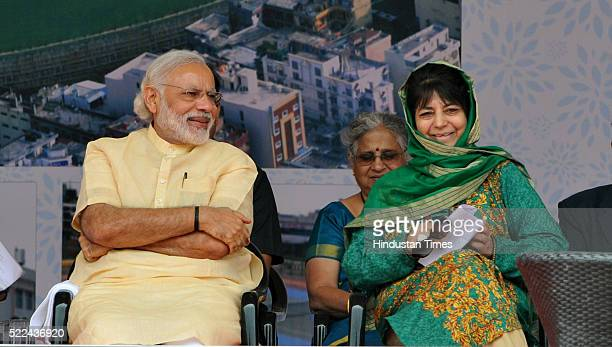 Prime Minister Narendra Modi and JK Chief Minister Mehbooba Mufti a public rally after inauguration of a sports complex and a superspecialty hospital...
