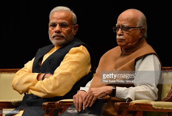 Prime Minister Narendra Modi and senior BJP leader L K Advani during the BJP Parliamentary board meeting