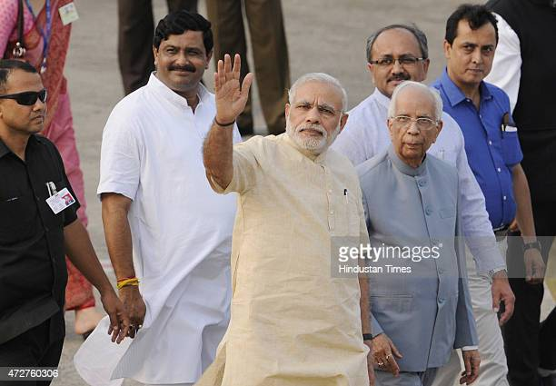 Prime Minister Narendra Modi arrives and welcome by West Bengal Governor KN Tripathi Siddharth Singh and Rahul Sinha BJP State President Kolkata at...
