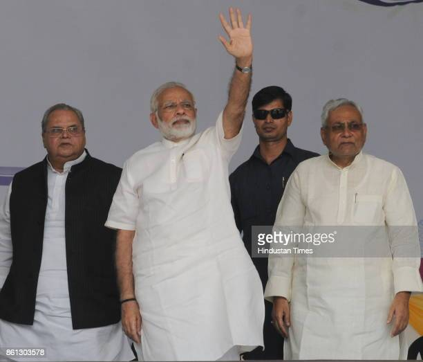 Prime Minister Narendra Modi Bihar Chief Minister Nitish Kumar and Governor Satyapal Malik at the centenary celebrations of the Patna University on...