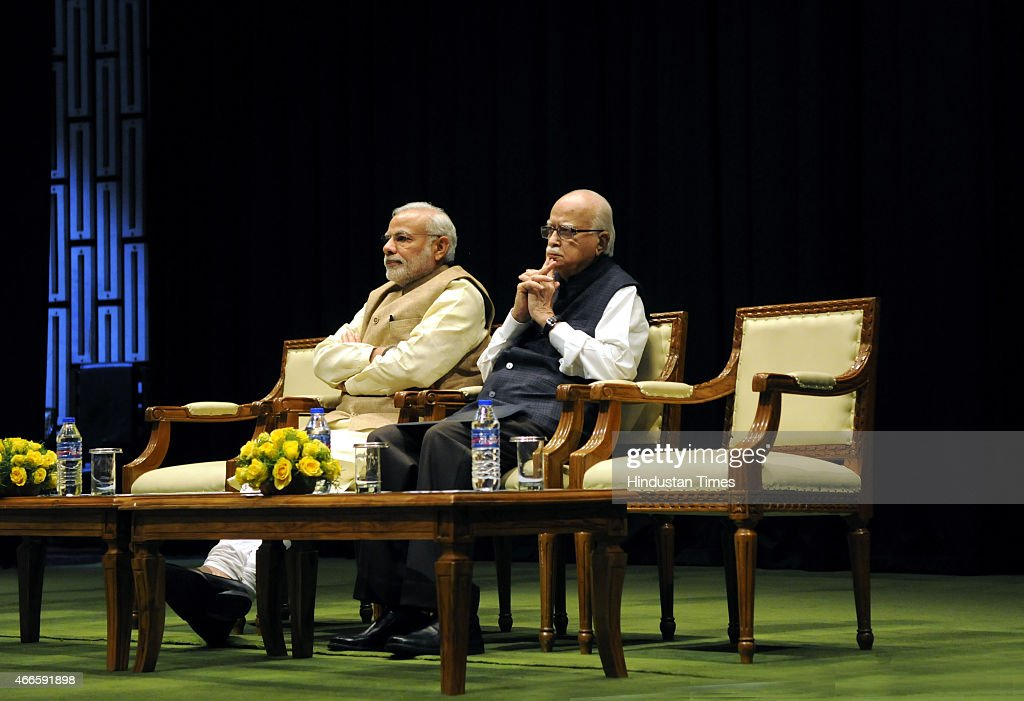 Prime Minister <a gi-track='captionPersonalityLinkClicked' href=/galleries/search?phrase=Narendra+Modi&family=editorial&specificpeople=822611 ng-click='$event.stopPropagation()'>Narendra Modi</a> (C) BJP leader LK Advani preside over the BJP parliamentary board meeting at Parliament House on March 17, 2015 in New Delhi, India. The BJP parliamentary board meeting was held today as Opposition parties will hold a protest march against the Land Acquisition Bill which they allege is Anti-farmer. At the meeting, where Prime Minister <a gi-track='captionPersonalityLinkClicked' href=/galleries/search?phrase=Narendra+Modi&family=editorial&specificpeople=822611 ng-click='$event.stopPropagation()'>Narendra Modi</a> was also present, BJP MPs were asked to ensure their presence in Parliament to show the partys strength and to ensure passage of key bills.