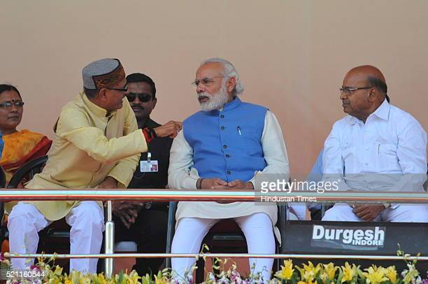 Prime Minister Narendra Modi CM Shivraj Singh Chouhan and Union Minister of social Justice Thaawar Chand Gehlot during a public rally of Dalits on...