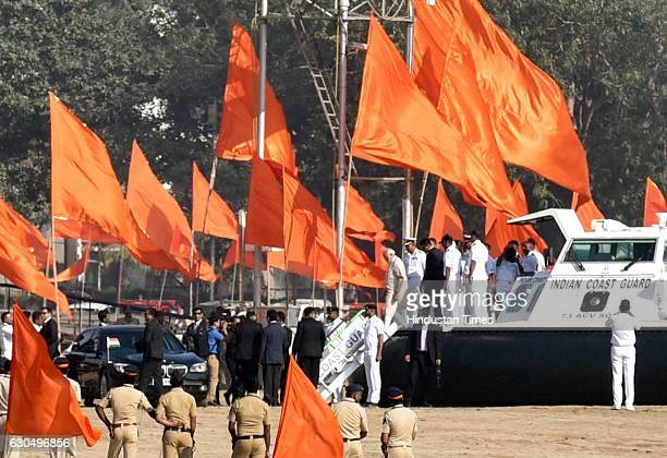 Prime Minister Narendra Modi departs from Girgaum Chowpatty after laying the foundation of the Shiv Smarak in the Arabian Sea on December 24 2016 in...