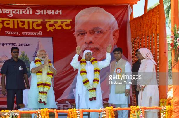 Prime Minister Narendra Modi during a public meeting at Math Gadwaghat Ashram on March 6 2017 in Varanasi India For the last three days PM Modi has...