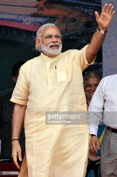 Prime Minister Narendra Modi during a public rally after inauguration of a sports complex and a superspecialty hospital set up by the Shri Mata...
