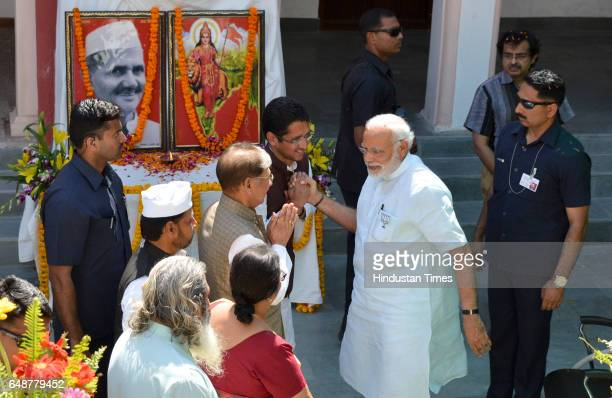 Prime Minister Narendra Modi during a visit to home of former Prime Minister Lal Bahadur Shahstri at Ramnagar on March 6 2017 in Varanasi India For...