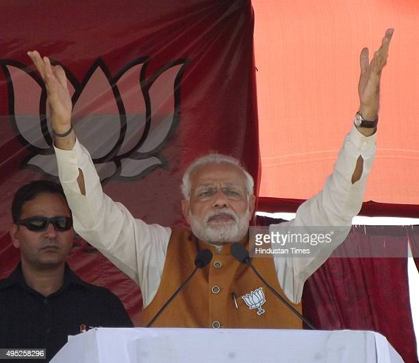 Prime Minister Narendra Modi during an election campaign rally for Bihar Assembly elections on November 1 2015 in Madhubani India Bihar will hold...