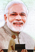 Prime Minister Narendra Modi during the Global Exhibition on Services at Pragati Maidan on April 23 2015 in New Delhi India Commerce and Industry...