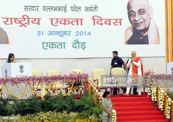 Prime Minister Narendra Modi during the Run for Unity on the Sardar Patel birth anniversary at Vijay Chowk on October 31 2014 in New Delhi India The...