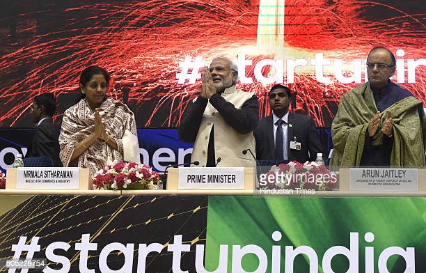 Prime Minister Narendra Modi Finance Minister Arun Jaitley and Minister of States for Independent Charge Nirmala Sitharaman at the launch of StartUp...