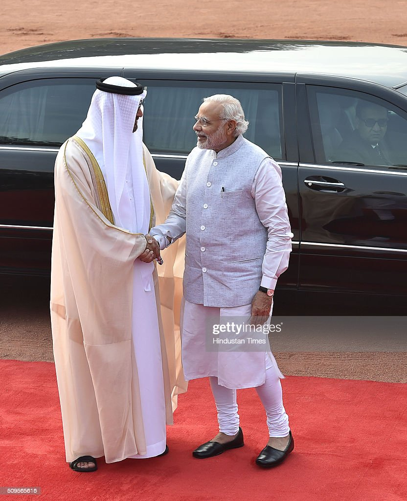 Prime Minister Narendra Modi greets Abu Dhabi Crown Prince Mohammed bin Zayed Al Nahyan during his ceremonial reception at the forecourt of the Rashtrapati Bhawan presidential palace on February 11, 2016 in New Delhi, India. In a departure from protocol, Prime Minister Narendra Modi received Abu Dhabis Crown Prince Sheikh Mohamed bin Zayed Al Nahyan at the airport as he arrived in New Delhi for a three-day state visit. Hours after his arrival, Al Nahyan expressed his keenness to the strengthen strategic relationship between the two countries. At present, India is UAEs number one trading partner with total trade pegged at $60 billion in 2015. UAE was the sixth largest source of crude oil import for India in 2014-'15.