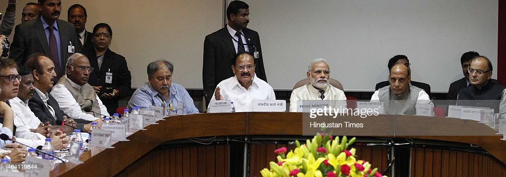 Prime Minister Narendra modi, Home Minister <a gi-track='captionPersonalityLinkClicked' href=/galleries/search?phrase=Rajnath+Singh&family=editorial&specificpeople=582959 ng-click='$event.stopPropagation()'>Rajnath Singh</a>, Finance Minister <a gi-track='captionPersonalityLinkClicked' href=/galleries/search?phrase=Arun+Jaitley&family=editorial&specificpeople=2660950 ng-click='$event.stopPropagation()'>Arun Jaitley</a>, Union Minister for Parliamentary affairs and Urban Development M. Venkaiah Naidu, Congress leader M.A. Kharge and <a gi-track='captionPersonalityLinkClicked' href=/galleries/search?phrase=Ghulam+Nabi+Azad&family=editorial&specificpeople=772783 ng-click='$event.stopPropagation()'>Ghulam Nabi Azad</a> and other leaders during the all-party meeting called by Loksabha Speaker Sumitra Mahajan ahead of Budget session to ensure smooth functioning of Parliament where opposition is set to target government on issues like corruption in defence deals, at Parliament Library on February 22, 2015 in New Delhi, India.
