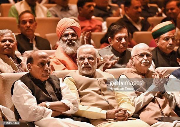 Prime Minister Narendra Modi Home Minister Rajnath Singh Senior leader LK Advani during the BJP Parliamentary meeting at Parliamentary Annexe on...