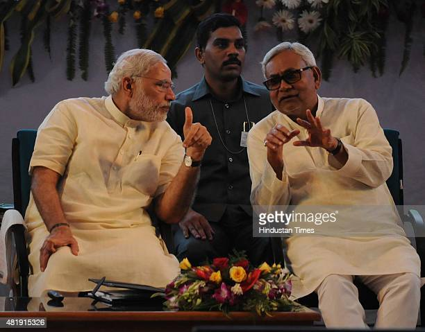 Prime Minister Narendra Modi interacts with Bihar Chief Minister Nitish Kumar at 87th ICAR Foundation Day Celebrations SKM Hall on July 25 2015 in...