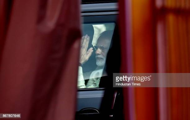 Prime Minister Narendra Modi leaves HAL airport after addressing the BJP party workers on October 29 2017 in Bengaluru India Modi on Sunday tore into...