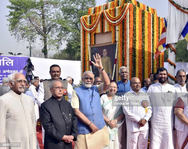 Prime minister Narendra Modi Lok Sabha leader Sumitra Mahajan Ghulam Nabi Azad and others after floral tribute to Dr BR Ambedkar Parliament House on...