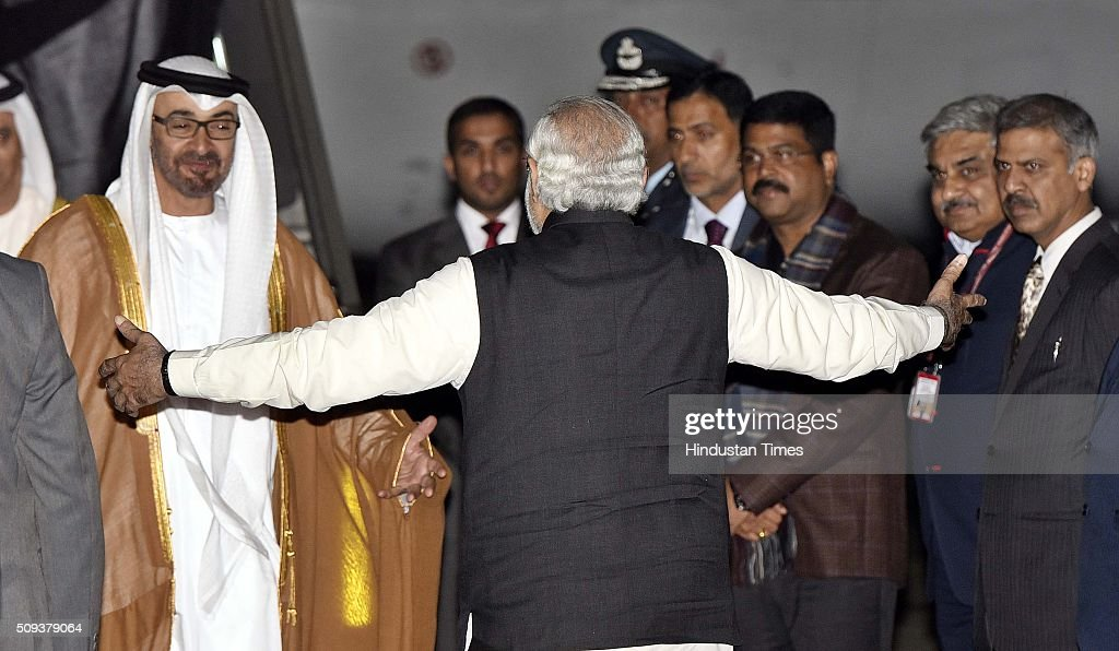 Prime Minister Narendra Modi receiving Sheikh Mohamed bin Zayed Al Nahyan, Crown Prince of Abu Dhabi, after he arrived here on a three-day visit, at Palam Technical Area on February 10, 2016 in New Delhi, India. The crown prince is being accompanied by a high-level delegation comprising Cabinet Ministers, senior officials and business leaders. India-UAE relationship is focus on new areas of cooperation like defence production in India, security, counter-terrorism, in nuclear and space sector, in energy sector. Delegation-level discussions will be held here between Modi and Sheikh Mohamed on Thursday evening and then the agreements will be signed.