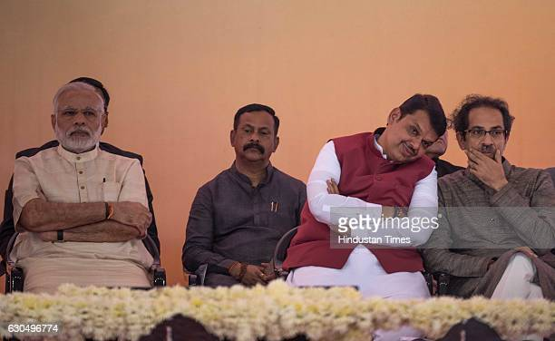 Prime Minister Narendra Modi Shiv Sena Chief Uddhav Thackeray and Maharashtra Chief Minister Devendra Fadnavis at the foundation stone laying...