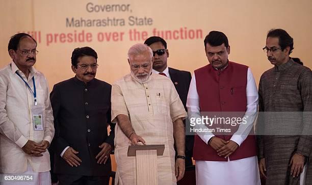 Prime Minister Narendra Modi Shiv Sena Chief Uddhav Thackeray Urban Development Minister M Venkaiah Naidu and Maharashtra Chief Minister Devendra...