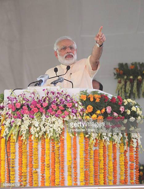 Prime Minister Narendra Modi speaking at public rally marking the end of Bharatiya Janata Party's twoday national executive meet on June 13 2016 in...