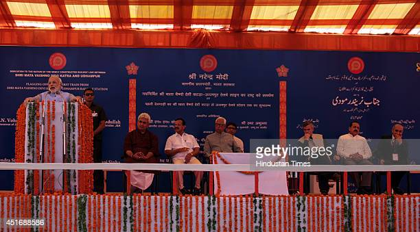 Prime Minister Narendra Modi speaks during the inauguration ceremony at Katra railway station on July 4 2014 in Katra about 45 kms from Jammu Prime...
