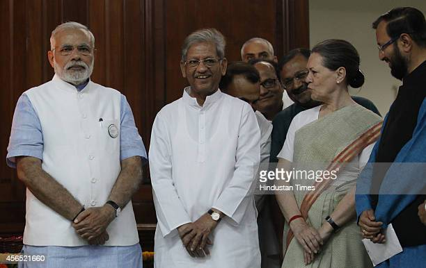 Prime Minister Narendra Modi Sunil Shastri and Congress president Sonia Gandhi during an event to pay tribute to Mahatma Gandhi and Lal Bahadur...