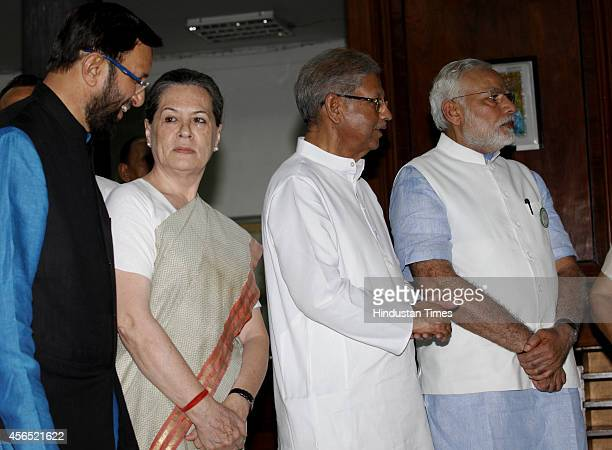 Prime Minister Narendra Modi Sunil Shastri Congress president Sonia Gandhi and Union Minister for Information Broadcasting Prakash Javadekar during...