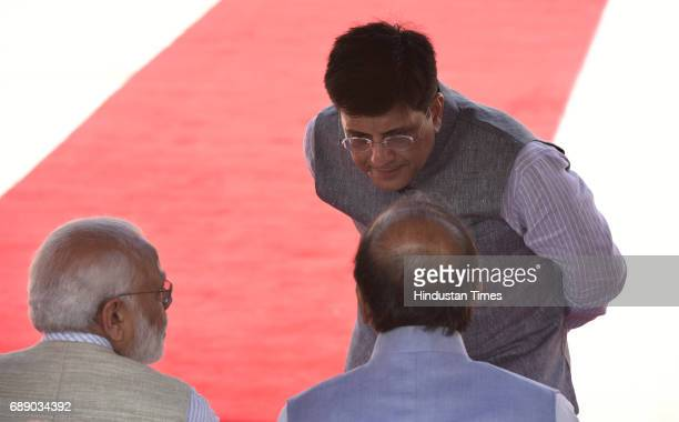 Prime Minister Narendra Modi talks to Finance Minister Arun Jaitley and Piyush Goyal Power Coal New and Renewable Energy during Mauritius' Prime...