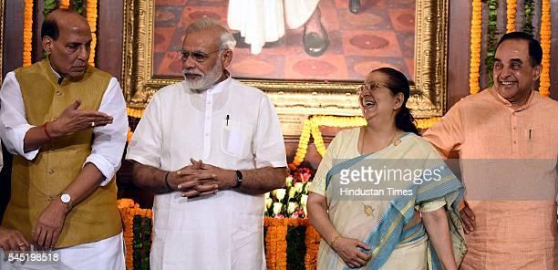 Prime Minister Narendra Modi Union Home Minister Rajnath Singh Lok Sabha Speaker Sumitra Mahajan BJP Rajya Sabha MP Subramanian Swamy with others...