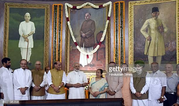 Prime Minister Narendra Modi Union Home Minister Rajnath Singh Union Minister of Finance Arun Jaitley Sr BJP leader Lal Krishna Advani Lok Sabha...