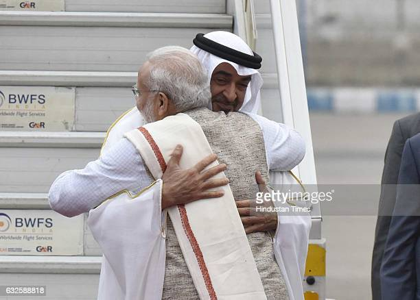 Prime Minister Narendra Modi welcomes Crown Prince of Abu Dhabi Sheikh Mohamed bin Zayed Al Nahyan after his arrival at Palam Airforce ground on...