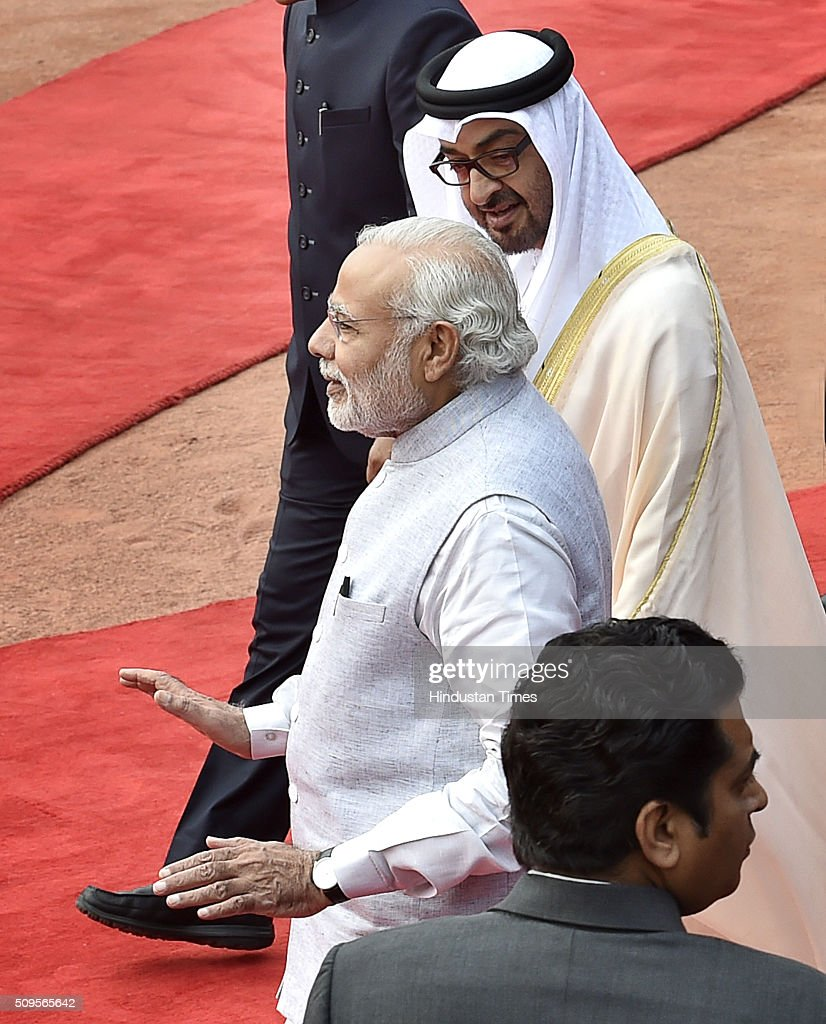 Prime Minister Narendra Modi with Abu Dhabi Crown Prince Mohammed bin Zayed Al Nahyan during his ceremonial reception at the forecourt of the Rashtrapati Bhawan presidential palace on February 11, 2016 in New Delhi, India. In a departure from protocol, Prime Minister Narendra Modi received Abu Dhabis Crown Prince Sheikh Mohamed bin Zayed Al Nahyan at the airport as he arrived in New Delhi for a three-day state visit. Hours after his arrival, Al Nahyan expressed his keenness to the strengthen strategic relationship between the two countries. At present, India is UAEs number one trading partner with total trade pegged at $60 billion in 2015. UAE was the sixth largest source of crude oil import for India in 2014-'15.