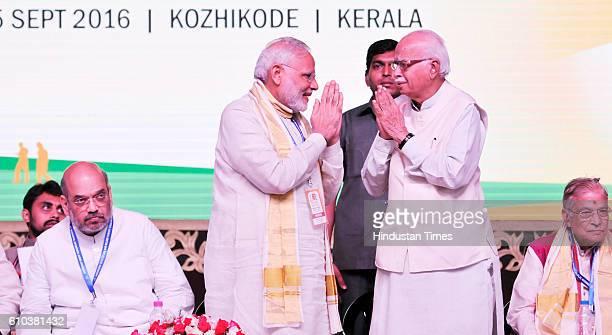 Prime Minister Narendra Modi with BJP President Amit Shah senior BJP leader LK Advani and others during the BJP public meeting on September 25 2016...