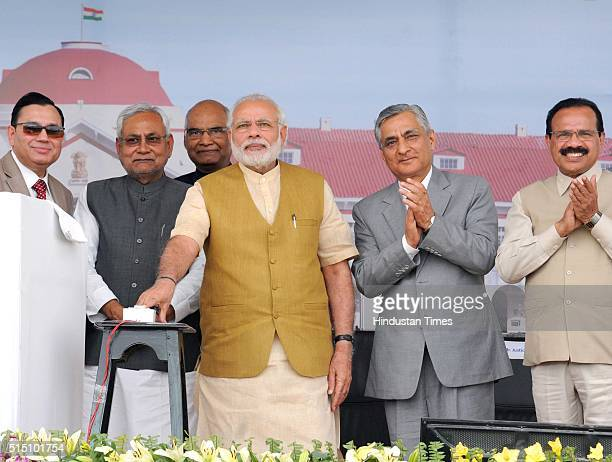 Prime Minister Narendra Modi with Chief Justice of India Justice TS Thakur Bihar Chief Minister Nitish Kumar and Law Minister Sadanand Gowda during...